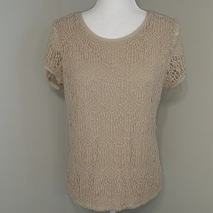 Verve Beige Tan Lace Short Sleeve Top L